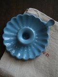 Bougeoir emaille bleu fleur